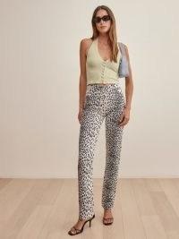 REFORMATION Cynthia Cheetah High Rise Straight Long Jeans ~ wild animal prints ~ printed denim