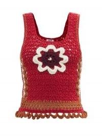 Vintage style knitwear   BATSHEVA Daisy-appliqué crochet top   retro fashion