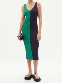 STAUD Dana colour-block ribbed midi dress / green and navy colourblock knitted tank dresses