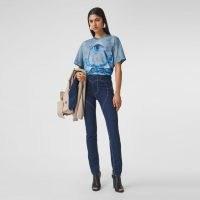 BURBERRY Shark Print Cotton Oversized T-shirt / ocean inspired printed short sleeve tee / sharks