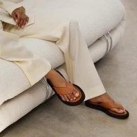 DEAR FRANCES KIN SANDAL | tan brown thonged flats | flat leather sandals