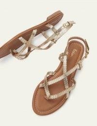 Boden Deborah Strappy Sandals Gold | summer flats