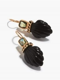 DEZSO Deco sapphire, onyx & 18kt rose-gold shell drop earrings