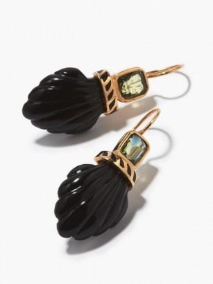 DEZSO Deco sapphire, onyx & 18kt rose-gold shell drop earrings - flipped