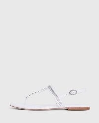 PAIGE Delia Sandals in White Leather | strappy summer flats