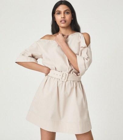 REISS DEMI ONE SHOULDER MINI DRESS NUDE ~ belted asymmetric neckline dresses - flipped