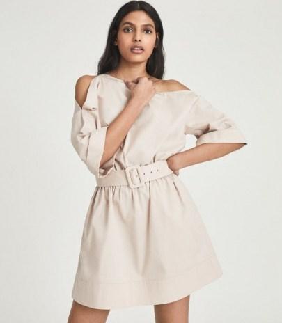 REISS DEMI ONE SHOULDER MINI DRESS NUDE ~ belted asymmetric neckline dresses