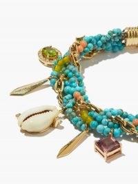 ARON & HIRSCH Diamond, amethyst & 18kt gold charm bracelet / blue stone bracelets with charms