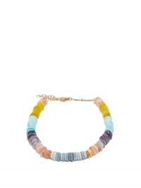 JACQUIE AICHE Diamond, opal & 14kt rose-gold anklet | multicoloured beaded anklets