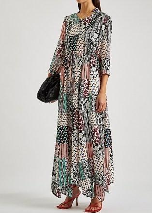 DIANE VON FURSTENBERG Lily printed maxi dress ~ floaty handkerchief hem dresses ~ drawstring waist - flipped