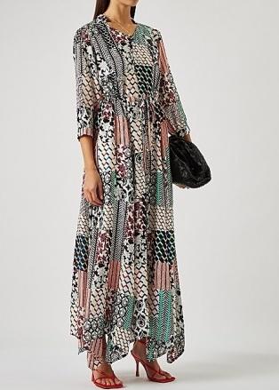 DIANE VON FURSTENBERG Lily printed maxi dress ~ floaty handkerchief hem dresses ~ drawstring waist