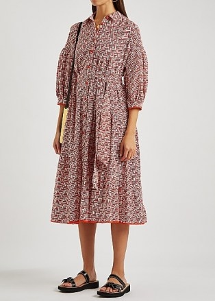 DIANE VON FURSTENBERG Luna printed cotton shirt dress ~ geometric print tie waist dresses - flipped