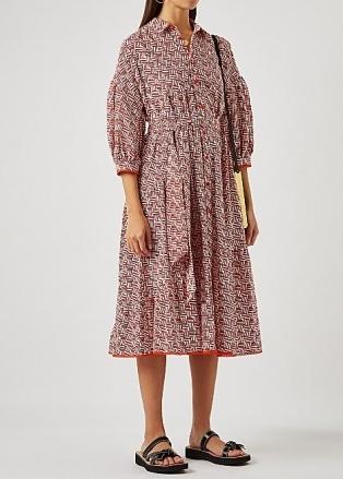 DIANE VON FURSTENBERG Luna printed cotton shirt dress ~ geometric print tie waist dresses