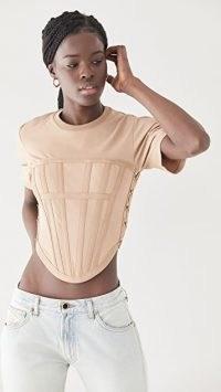 Dion Lee Jersey Corset Tee | structured crop hem T-shirt