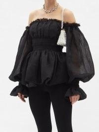 AJE Divine off-the-shoulder balloon-sleeve voile top ~ black voluminous bardot tops