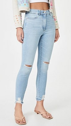 DL1961 Farrow Skinny Jeans Baby Blue Distressed | ripped skinnies - flipped