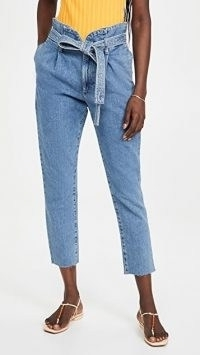 DL1961 Susie Tapered Paperbag Jeans Skylight | tie waist cropped hems
