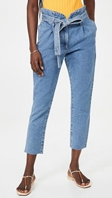 DL1961 Susie Tapered Paperbag Jeans Skylight   tie waist cropped hems - flipped
