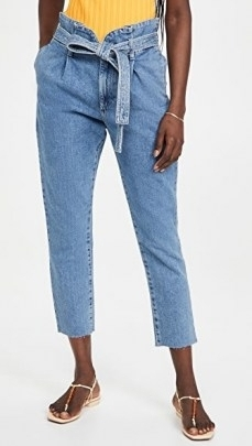 DL1961 Susie Tapered Paperbag Jeans Skylight   tie waist cropped hems
