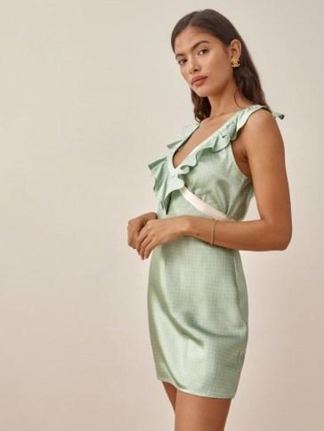 Reformation Dotty Dress | ruffled deep V-neckline mini dresses - flipped