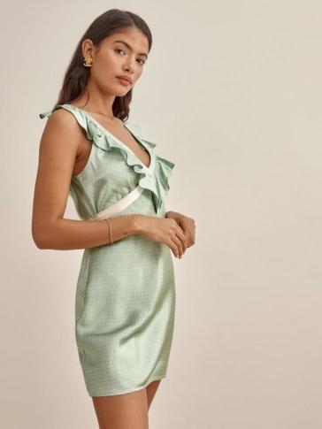 Reformation Dotty Dress | ruffled deep V-neckline mini dresses