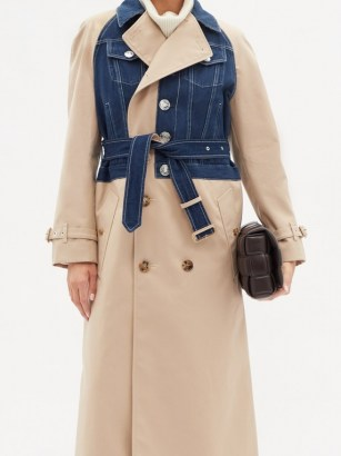 BURBERRY Double-breasted denim and gabardine trench coat - flipped