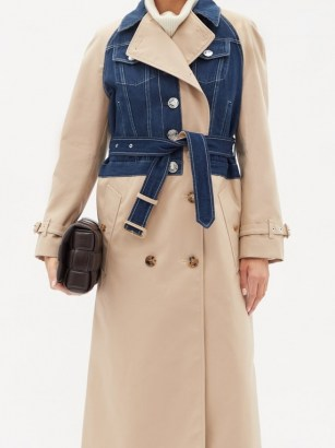 BURBERRY Double-breasted denim and gabardine trench coat