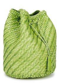 DRAGON DIFFUSION Pompom Double Jump woven leather bucket bag in green – summer crossbody bags