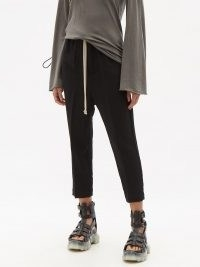 RICK OWENS Drawstring cropped wool-blend trousers ~ black crop hem pants