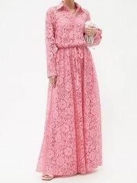 VALENTINO Pink drawstring-waist floral-lace shirt gown ~ romantic maxi shirt dresses