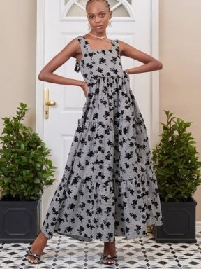 SISTER JANE DREAM Fondly Floral Tiered Maxi Dress Black and Grey - flipped