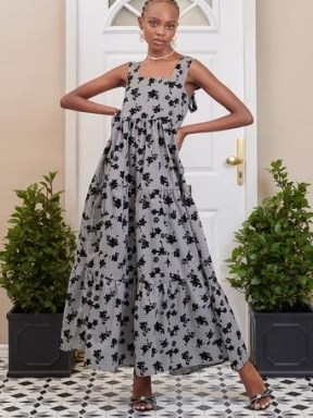 SISTER JANE DREAM Fondly Floral Tiered Maxi Dress Black and Grey