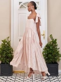 SISTER JANE DREAM Isabella Tiered Maxi Dress Champagne Blush / pink floral high low hem occasion dresses