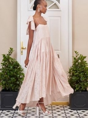 SISTER JANE DREAM Isabella Tiered Maxi Dress Champagne Blush / pink floral high low hem occasion dresses - flipped
