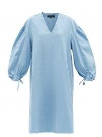 JOSEPH Duna balloon-sleeve linen-blend dress   blue volume sleeved summer dresses