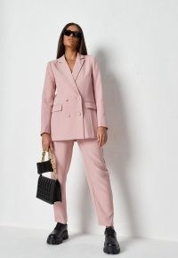 MISSGUIDED dusky pink co ord tailored longline blazer ~ on trend double breasted blazers