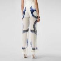 BURBERRY Mermaid Tail Print Chiffon Overlay Silk Shorts / semi sheer printed trousers / mermaids