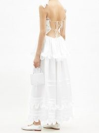 CECILIE BAHNSEN Echo tiered silk-charmeuse gown – strappy back summer gowns with ruffled tiers