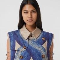 BURBERRY Mermaid Tail Print Cotton Sleeveless Trench Coat / printed designer coats