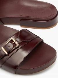 GABRIELA HEARST Elie buckled-strap polished-leather slides | burgundy sliders
