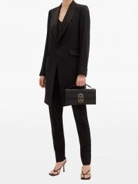 CHRISTIAN LOUBOUTIN Elisa black mini grained-leather shoulder bag | small oblong shaped top handle bags