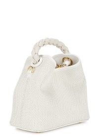 ELLEME Baozi Tresse white raffia cross-body bag – small woven summer handbag with braided leather top handle