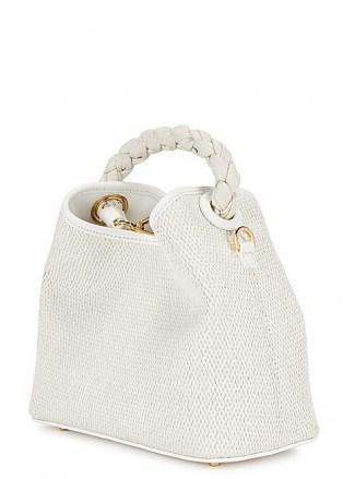 ELLEME Baozi Tresse white raffia cross-body bag – small woven summer handbag with braided leather top handle - flipped