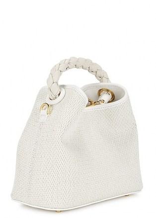 ELLEME Baozi Tresse white raffia cross-body bag – small woven summer handbag with braided leather top handle