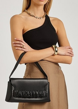 ELLEME Chouchou black leather shoulder bag | front ruched flap bags | chic handbags - flipped