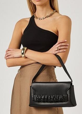 ELLEME Chouchou black leather shoulder bag | front ruched flap bags | chic handbags