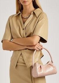 ELLEME Dimple pink crocodile-effect leather top handle bag – small luxe croc embossed handbag