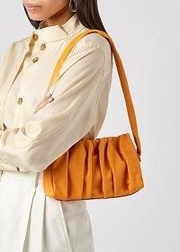 ELLEME Vague orange leather shoulder bag / ruched clutch bags / vibrant gathered handbag / bright pleated handbags