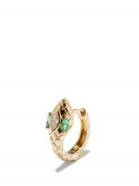 JACQUIE AICHE Emerald Eyes diamond & 14kt gold single snake earring