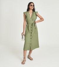 REISS EMMA LINEN BLEND MIDI DRESS KHAKI ~ green flutter sleeve tie waist dresses